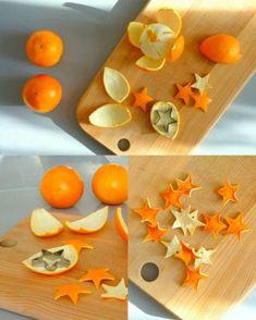 estrellas hechas con pieles de naranjas