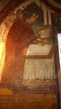 Subiaco Sacro Speco; chiesa inferiore; affresco bizantino raffigurante Gregorio IX.