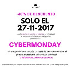 SOLO HOY 27/11/2017  Obtén hasta -40% de descuento en el momento de tu compra al introducir el código promocional CYBERMONDAY en nuestros productos #kosei para todo el público.  Y si eres profesional tendrás un -25% de descuento sobre el precio profesional al introducir el código CYBERMONDAYPROFESIONAL Promoción válida para compras realizadas en www.kosei.es el 27/11/2017 y con entrega en #España  #cosmetica #estetica #peluqueria #alisado #keratina #alisadokeratina #belleza #mesoterapia…