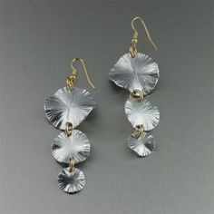 Aluminum Lily Pad Earrings - Three-tiered