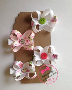 Baby Hair Clips, Tiny, Simple, Elegant, Girls Hair Clips, Alligator Clips, Flower, Buttons by MyKurlyKreations on Etsy https://www.etsy.com/listing/289461207/baby-hair-clips-tiny-simple-elegant