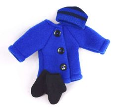 Doll clothes: Blue Coat Hat Mittens by JoellesDolls on Etsy