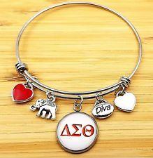 Delta Sigma Theta Crystal Slide Heart Charm Leather Adjustable ΔΣΘ Bracelet