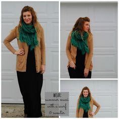 wear your summer maxi dress with boots, sweater, and a scarf for colder weather