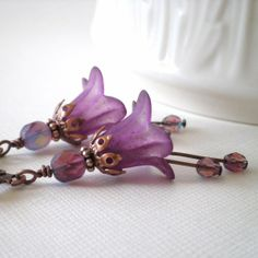 lucite flower earrings | Flower Earrings, Purple Lucite Flowers with Czech Glass Beads on ...