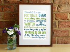 Personalised loves / likes - 8x10 inch print by SmartCreative, £18.00