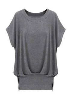 Nipped Hem Solid Color Loose Short Batwing Sleeve Tee Shirt on buytrends.com