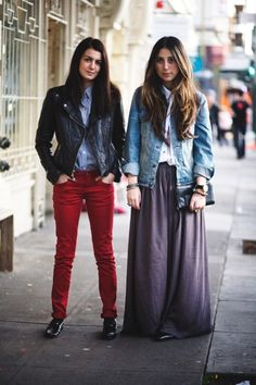 Look how each outfit only has 3 pieces but still look very polished. Invest in these items and you'll have outfits for weeks!- Leather jacket, Jean jacket, maxi skirt, colored denim skinny jeans, and button ups.