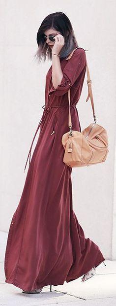 Bekleidet Burnt Maxi Dress Fall Inspo