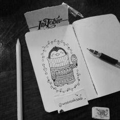 #inktober #inktoberkostolom3000 #ink #bird #penguin #draw #winteriscoming #illustration #artwork #artoftheday #inkart #icecream #doodle • #kostolom3000 #AnnaAlekseeva