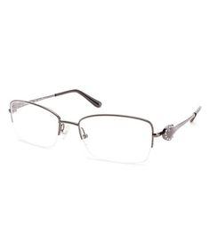 Gunmetal Half-Rim Eyeglass Frames