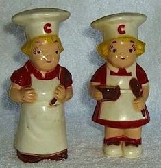 cat salt and pepper shakers | vintage 1950s campbell soup kids salt and pepper shakers