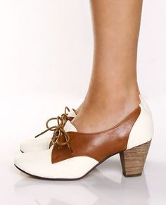 white and tan tie up oxfords