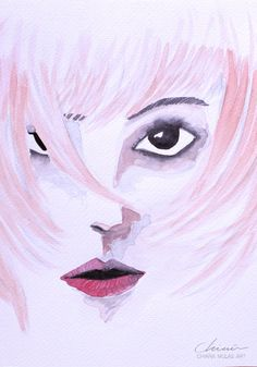 Wild by Chimù - Chiara Mulas Art, illustration and Design.  #colors #watercolors #watercolor #pencil #conceptual #concept #abstract #mood #girl #portrait #pink
