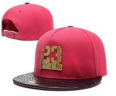 Men's Pyrex Number 23 Gold Metal Logo Faux Croco Leather Print Visor Hip Hop Snapback Hat - Rose / Black