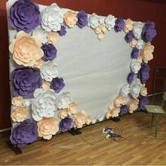 Paper flowers backdrop wedding