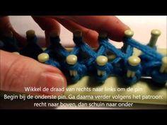 Sjaal op een breiraam breien (achtjessteek - dubbelzijdig) - YouTube