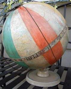 Altered Globe  Vintage globe painted distressed by TerriArtRust, $75.00