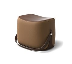 """Ottoman Hermes ottoman with strap that makes it highly portable. L21.1"""" x H14.1"""" x W13.6"""". Storage area covered in chocolate leather.<br />Cover in taupe Palomino velvet.<br /><br />Recalling the shape of a saddle, the ottoman offers small occasional seating and occasional storage.<br />This piece is crafted in the style of fine leather goods and requires intricate craftsmanship.<br />"""