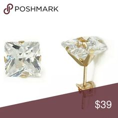 14K Yellow Gold  Princess Cut CZ Stud Earrings 14K Yellow Gold  Square Princess Cut CZ Stud Earrings. Ask for other Sizes & Price.                       Sizes : 3 mm = .2  total carat weight Sizes : 4 mm = .5  total carat weight Sizes : 5 mm = 1.00 total carat weight Sizes : 6 mm = 1.50 total carat weight Sizes : 7 mm = 2.50 total carat weight   Properly Stamped and Marked Real 14K Gold   Super Bright Clear Round CZ (Cubic Zirconia)  FREE Standard Shipping        FREE BOX Jewelry Earrings