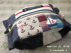 handmade・ソーイング | Marinedrop Sewing To Sell, Pouch Bag, Pouches, Denim Bag, Fabric Bags, Quilted Bag, Cotton Bag, Zipper Bags, Handmade Bags