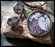 Cabochon-Schmuckset Tangle-Hearts inspiriert von Zentangle® ..gezeichnet von SiebenPfeile