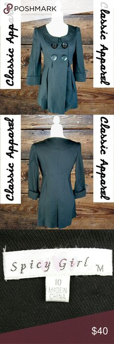 SPICY GIRL - LARGE BUTTON PEA COAT BLACK SPICY GIRL - EXCELLENT CONDITION LARGE BUTTON PEA COAT BLACK  (EVERY ITEM IS DRY CLEANED OR NWT!  EVERY ITEM IS WRAPPED!)  OFFERS ALWAYS WELCOME! :)  BUY TWO OR MORE ITEMS AND SAVE 10%!! Spicy girl Jackets & Coats Pea Coats