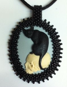Black Cat with Skull Beaded Cameo Pendant with Cord