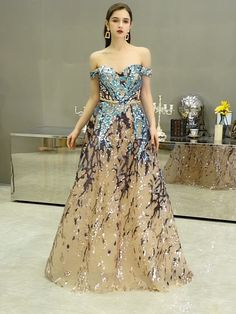 Sexy Sweetheart Evening Dresses 2020 Off the shoulder A-Line Colorful Sequin Formal Dress Long Prom Gowns Long Prom Gowns, A Line Prom Dresses, Women's Dresses, Couture Dresses, Ball Dresses, Nice Dresses, Formal Dresses, Dress Outfits, Party Dresses