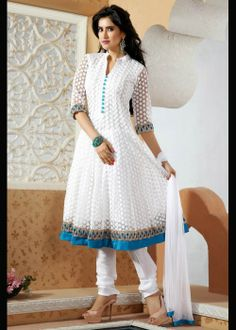 White net anarkali suit for party and special occasions