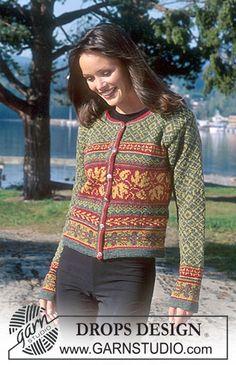 """DROPS jakke i """"DROPS Alpaca"""" med farveglade mønsterborter. Gratis opskrifter fra DROPS Design."""
