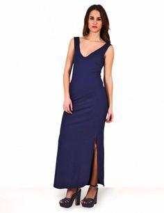 Μάξι φόρεμα με V λαιμουδιά και κυκλικό ποδόγυρο - Σκούρο Μπλε