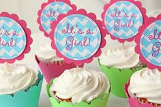 Baby Shower Cupcake Toppers Pink and Turquoise Teal Chevron Zig Zag Custom Cupcake Toppers - Set of 12. $12.00, via Etsy.