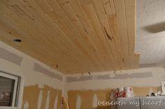 wood plank ceiling DIY $240