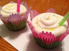 The Comforting Vegan : Vegan Lemonade Cupcakes (I will need to sub GF Flour to make these)  They do look and sound delicious!