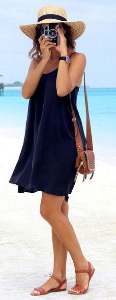 #Summer #Outfits Navy Blue Dress