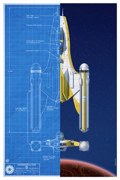 blueprint style Star Wars poster art featuring the spacecraft fighters that were used in the epic Battle of Yavin by Will Anderson and Tim Anderson