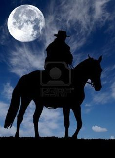 Cowboy & horse silhouette moon