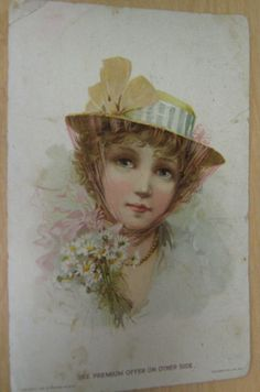 1894 Woolson Spice Co Lion Coffee Advertising Card Victorian Lady in Hat