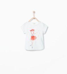 T-shirt imprimé ballerine orné d'une jupe en tulle