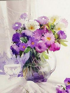김선희수갤러리 Abstract Watercolor, Watercolor And Ink, Watercolour Painting, Watercolor Flowers, Art Floral, Floral Artwork, Beautiful Paintings Of Flowers, Beautiful Flowers, Illustration Blume