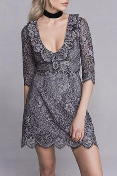 When romantic vintage meets modern day beauty, the Theodora Mini Dress becomes your one of a kind find. Inspired from the seaside bluffs of Romania, this sexy mini dress features a plunging neckline, scalloped edges, and a cut-out back detail. Let the custom vintage grey floral lace complement your figure with its fitted bodice and a velvet choker for a romantic finish. Partially lined; Invisible zip back closure. Designed in Los Angeles.   Theodora Mini Dress by FOR LOVE & LEMONS. Clothing…