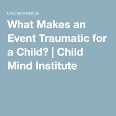 """Trauma is a complex situation...""""while we tend to think of an event as being the cause of trauma, trauma is actually a process over time. Trauma is the Greek word for injury, and so it's an experience that causes an injury to one's functioning—cognitive functioning, physiological functioning and psychological functioning."""""""