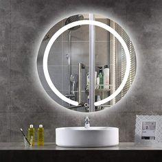 LED Bathroom Mirrors Wall Round Large Bathroom Mirrors, Large Bathrooms, Round Mirrors, Dressing Mirror, Luz Led, White Lead, Light Up, Mirror Vanity, Mirrors