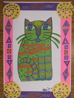 patterned designed cats inspired by the Fantastic Felines of artist, Laurel Burch. Laurel Burch, First Grade Art, Art Lessons Elementary, Primary Lessons, Egyptian Art, Art Lesson Plans, Art Classroom, Art Plastique, Teaching Art