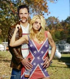 white trash couple costume....this is not a white trash couple costume...this is a really strangely photoshopped picture of Jessica Simpson and Nick Lachey...