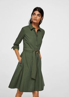 Discover the latest trends in Mango fashion, footwear and accessories. Shop the best outfits for this season at our online store. Summer Dress Outfits, Summer Dresses For Women, Casual Dresses, Short Dresses, Fashion Dresses, Khaki Shirt Dress, Cotton Shirt Dress, Dress Skirt, Dress Up