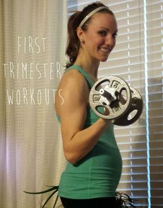 First Trimester Workouts with a schedule for cardio and toning + links back to favorite workouts and a few modifications for comfort: