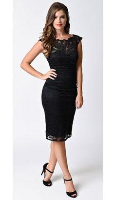 Unique Vintage 1950s Style Black Lace Blanche Wiggle Dress