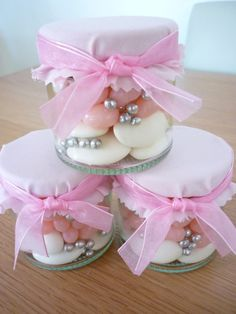 Small Baby pink themed filled sweet jar by dreamfavours on Etsy, £3.29